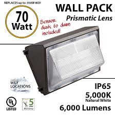 70w led wall pack fixture 6000lm 5000k ip65 ul w photocell