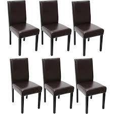 6x esszimmerstuhl stuhl küchenstuhl littau leder braun dunkle beine