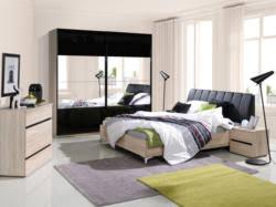schlafzimmer komplett set c volos 5 teilig farbe eiche sonoma schwarz hochglanz