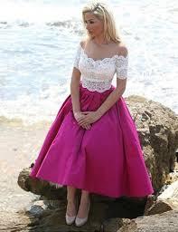 aliexpress com buy rose red short sleeve tea length prom dress