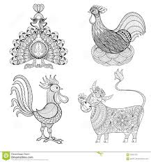 Royalty Free Vector Download Cow Chicken In Nest Rooster Turkey For Adult Coloring Page