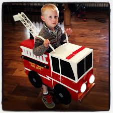 Homemade Halloween Firetruck Costume Made Out Of A Cardboard Box ...