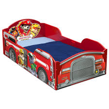 100 Kids Fire Truck Bed Delta Children Red PAW Patrol Wood Toddler Frame With