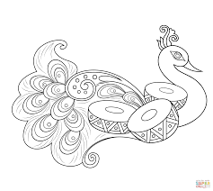 Rangoli With Peacock Coloring Page