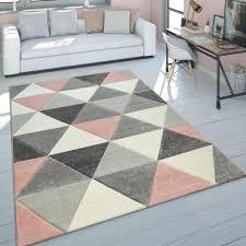 teppich wohnzimmer rosa grau pastellfarben 3 d design dreieck muster kurzflor grösse 160x230 cm