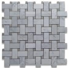 12 x12 carrara white basketweave mosaic gray dots polished chip