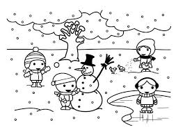 Childrens Playing Mr Snowman On Frozen Winter Season Lake Coloring Page