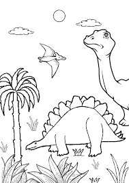 Colouring In Pages Environment Free Online Printable Kids Dinosaur Jungle