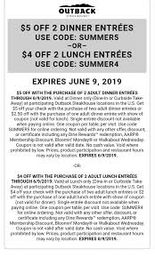 $5 Off Dinner Or $4 Off Lunch At Outback Steakhouse | Mojosavings.com Can I Eat Low Sodium At Outback Steakhouse Hacking Salt Gift Card Eertainment Ding Gifts Food Steakhouse Coupon Bloomin Ion Deals Gone Wild Kitchener C3 Coupons 1020 Off Coupons Free Appetizer Today Parts Com Code August 2018 1for1 Lunch Specials Coupon From Ellicott City Md On Mycustomcoupon Exceptional For You On The 8th Day Of