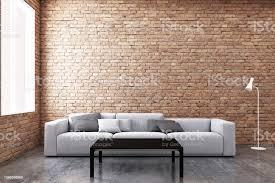 zeitgenössische wohnzimmer sofa und fenster mit ziegel wand hintergrund 3d illustration stockfoto und mehr bilder architektur