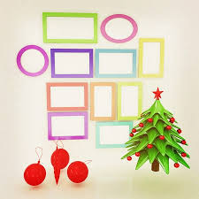Set Of Christmas And New Year Frames Tree 3D Render Vintage Style