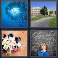 4 Pics 1 Word Answer for Fish Playground Classroom Math