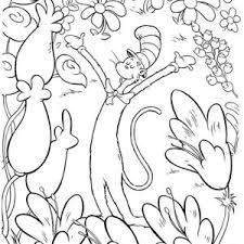 The Cat In Hat Garden Of Flowers Coloring Page