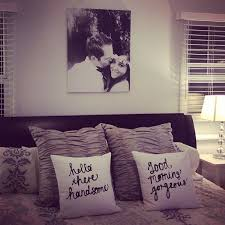 Hang A Blown Up Engagement Photo Above The Bedfinish Newlywed Look With Cute Throw Pillows I Think It Would Be Fun To Write Sweet Messages On Some