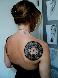 Black Celtic Tattoo On Shoulder Back