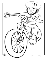 Boy Riding Bike Coloring Page