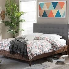 baxton studio alinia mid century grey upholstered walnut wood