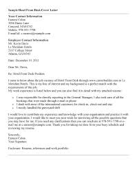Cover Letter For Front Desk Hotel by Hotel Receptionist Sample Cover Letter