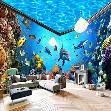 beibehang unterwasser welt aquarium ganze haus hintergrund 3d wandbild tapete wohnkultur foto hintergrund wand papier wohnzimmer