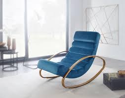 wohnling relaxliege samt blau gold 110 kg belastbar relaxsessel 61x81x111 cm design schaukelstuhl innenbereich schwingstuhl lounge liege modern