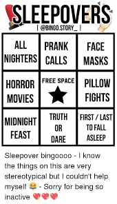 SLEEPOVERS ALL PRANK FACE NIGHTERS CALLS MASKS HORROR FREE SPACE