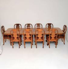Antique Burr Walnut Queen Anne Dining Table & Eight Chairs ...