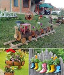 Wooden Log Train Planter Garden Project
