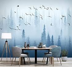 fototapete handfarbe flying birds 3d wald tapete wandbilder
