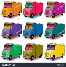 Set Nine Colorful Panel Trucks Stock Illustration 116085430 ...