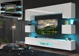 moderne wohnwand schrankwand hochglanz wohnzimmer besta n1 inkl led