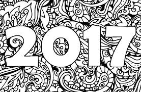 Adult Coloring Page New Year 2017