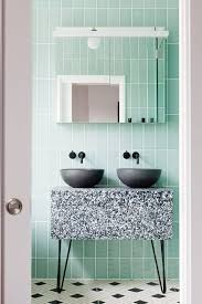 Green Tiles And A Terrazzo Sink Stand In Grey Black White For An Eye