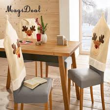 Christmas Chair Cover Xmas Home Party Dinner Banquet Elk ... Adorable Ding Room Chair Cushions Set Of 6 Piece Patterns How To Make Removable Covers Arm Slipcovers For Less Than 30 Howtos Captains Etsy Chairs Back White Bla Grey Tufted Target Co Wood Pad Without Pads Ties Round Roll Room Ideas Tailored Denim Seat The Slipcover Maker Dingroomchaircoversblue Beautifying Your Every Taste Latest Home Details About Uk Knit Stretch High Tapered Rooms Dark