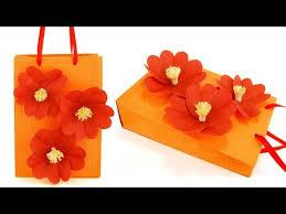 Handmade Paper Bag With Plum Blossom Flowers