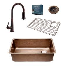 33x22 Copper Kitchen Sink by Sinkology Adams Farmhouse Apron Front Handmade Pure Solid Copper
