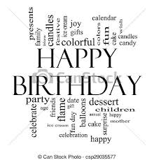 Happy Birthday Word Cloud Concept In Black And White Stock