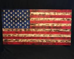 38x19 Wooden American Flag Customizable Wood Burned Rustic
