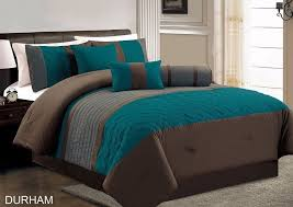 Brown And Teal Bedding Sets Durham Teal Grey Brown Pleated