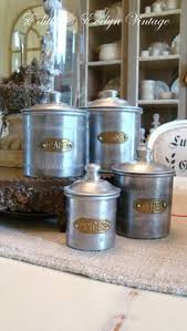 Set of 4 French Vintage KITCHEN CANISTERS by PetitesChosesDeLaVie