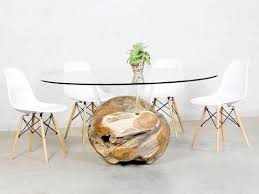 designer glas esstisch rund mit massivholz teak unterbau in
