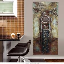 Harley Davidson Bike Repurposed Steel Wall Art Motorcycle Garage Within Home Decor