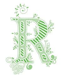 Hand Drawn Monogrammed Print 8x10 The Letter R In Color Green
