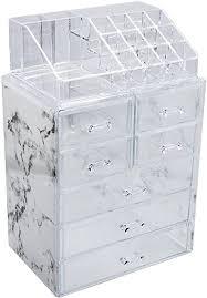 sorbus luxuriöse marmor kosmetik make up und aufbewahrungsbox geräumiges design ideal für badezimmer kommode waschtisch und