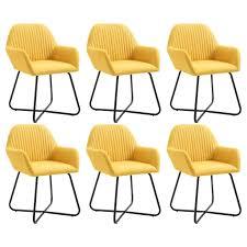 vidaxl esszimmerstühle 6 stk gelb stoff