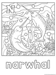 N Is For Narwhal Coloring Page