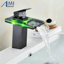 schwarz wasser powered led wasserhahn bad becken wasserhahn messing mischbatterie wasserfall armaturen heiß kalt kran becken tippen