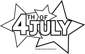 July Black And White Clipart