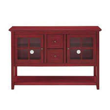 Antique Red Buffet With Storage