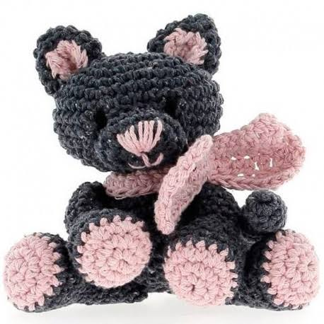 Hoooked Kyra Kitten Crochet Kit, Grey/Pink