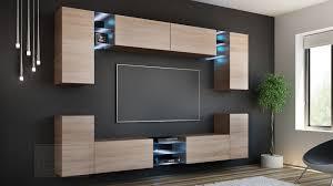wohnwand splash sonoma eiche mediawand medienwand design modern led beleuchtung hängewand hängeschrank tv wand